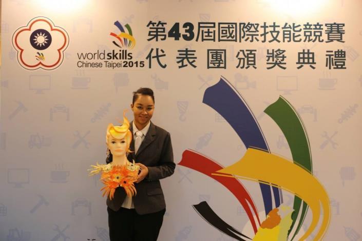 1080812勞動部勞動力發展署新聞稿(附照)_第43屆國際技能競賽美髮職類銅牌國手楊蘊蒂。