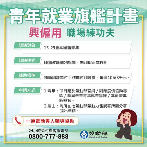 1090622勞動部勞動力發展署新聞稿_青年就業旗艦計畫