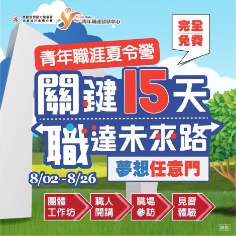 勞動部北分署YS將舉辦第三屆「青年職涯夏令營」,歡迎18-29歲青年報名參加