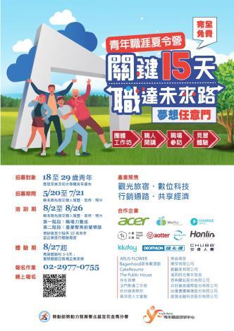 勞動部北分署YS將舉辦第三屆「青年職涯夏令營」,歡迎18-29歲青年報名參加-01
