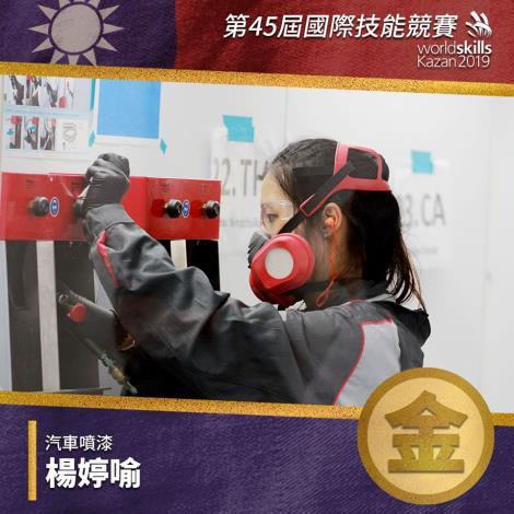 第45屆國際技能競賽-金牌國手-汽車噴漆職類-楊婷喻