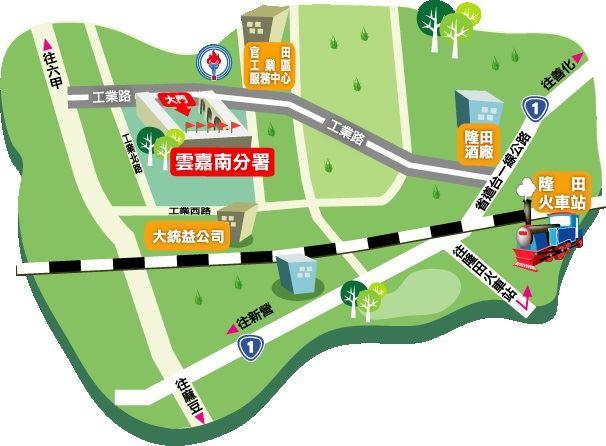 臺南官田職業訓練場路線圖